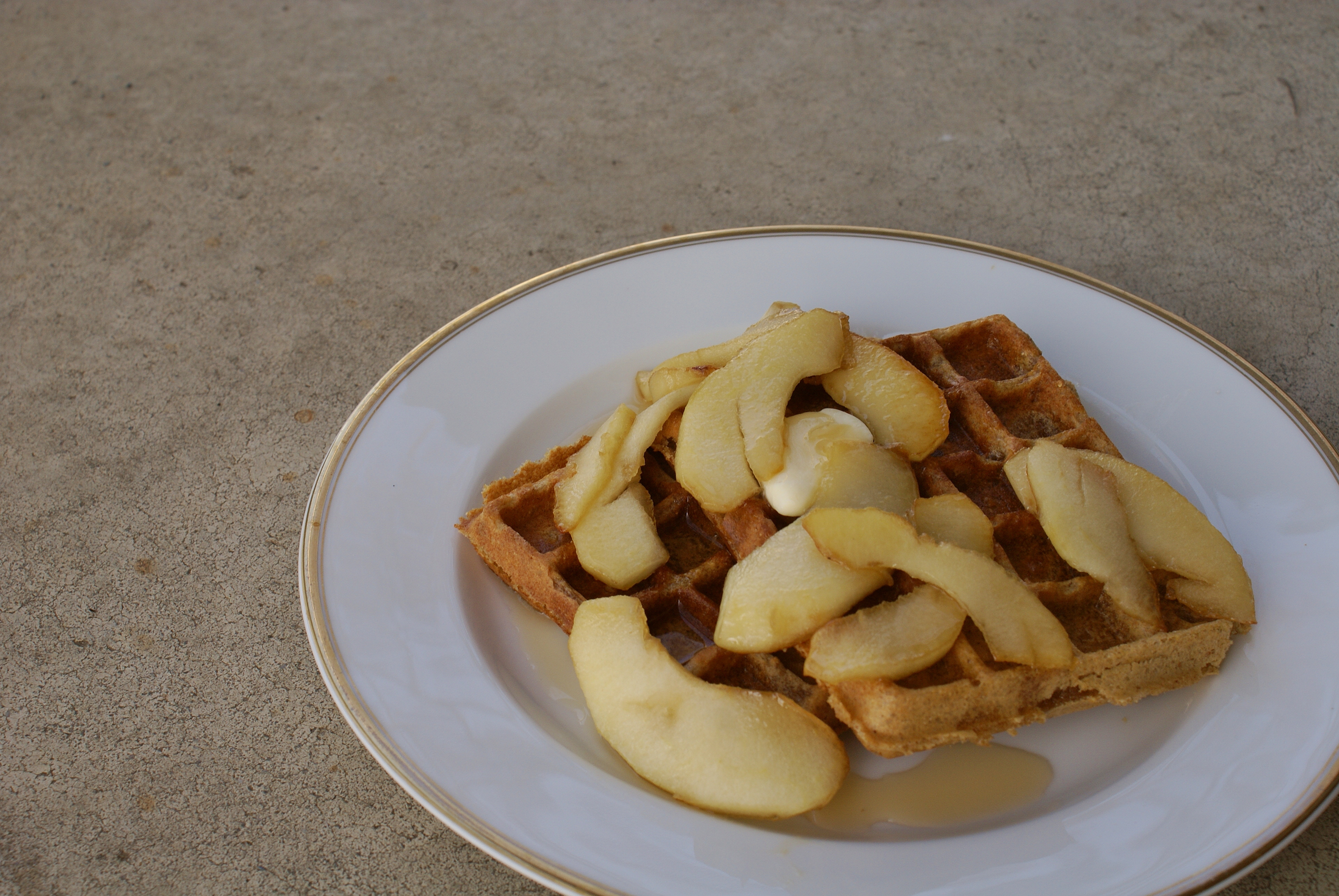 Whole Wheat Peanut Butter Waffles with Maple Glazed Apples | Whole ...